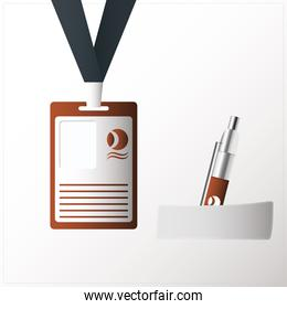 id badge hanging with pen isolated icon