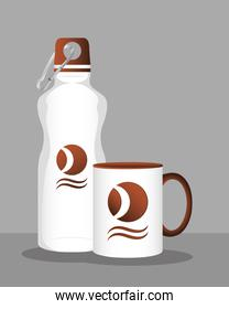 cup mug and bottle branding isolated icon