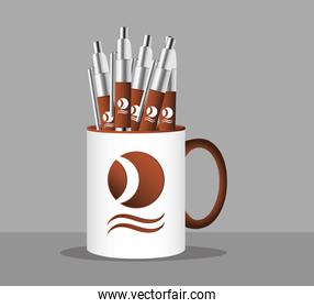 cup mug with pens branding isolated icon