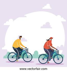 young couple wearing medical masks in bicycles