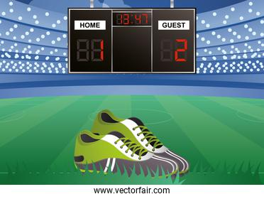 soccer sport emblem poster with stadium and scoreboard