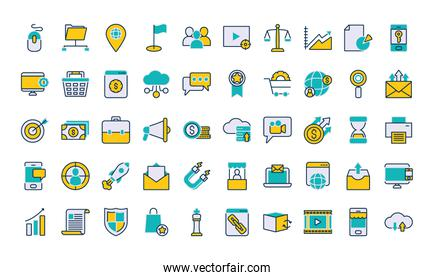marketing icon set, line and fill style