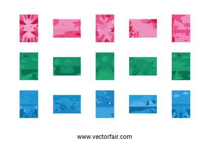 Summer pink blue and green banners set vector design