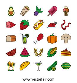 Food line and fill style icon set vector design