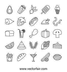 Food line style icon set vector design