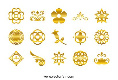 ornaments gold gradient style icon set vector design