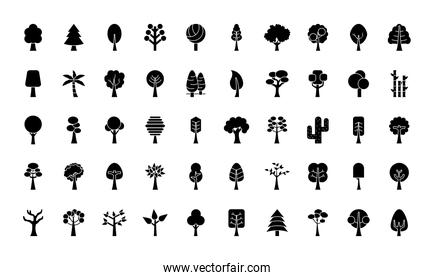 trees silhouette style icon set vector design