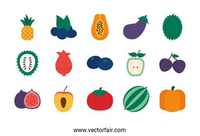 pear and exotic fruits icon set, flat style