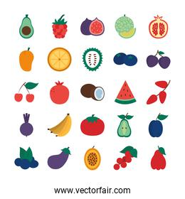 cherry and exotic fruits icon set, flat style