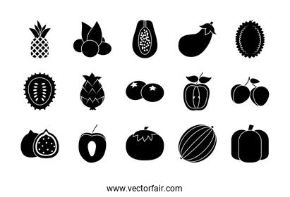 pear and exotic fruits icon set, silhouette style