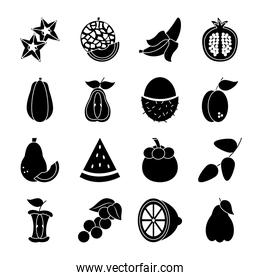 lemon and exotic fruits icon set, silhouette style