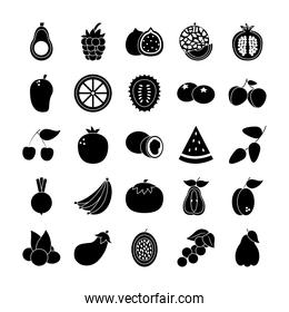 cherry and exotic fruits icon set, silhouette style