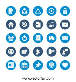 icon set of smartphone and social media concept, block style