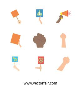 icon set of protesting hands, flat style