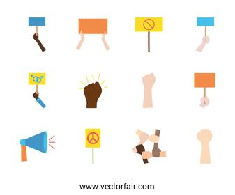blank placards and protest concept icon set, flat style