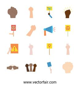 hands and protesting icon set, flat style