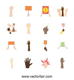 icon set of protesting and hand, flat style