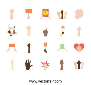 icon set of protesting and heart, flat style