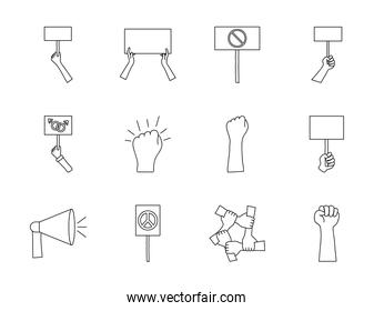 blank placards and protest concept icon set, line style