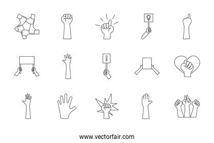 icon set of blank placards and protesting hands, line style