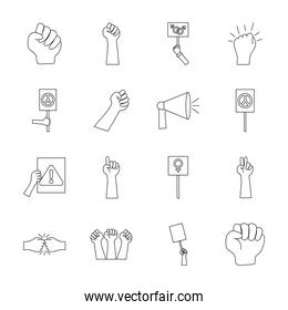 hands and protesting icon set, line style