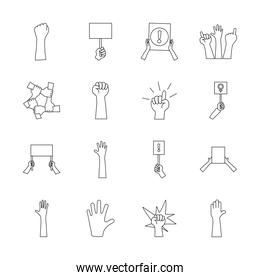 icon set of protesting and hand, line style