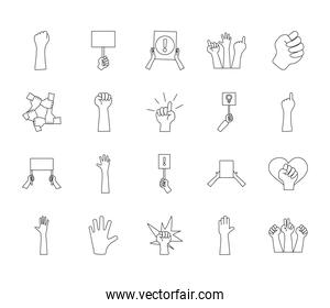 icon set of protesting and heart, line style