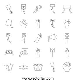 peace symbols and protesting icon set, line style