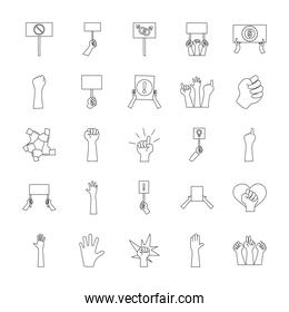 icon set of protesting hands, line style