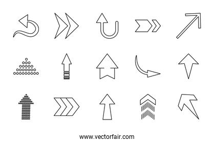 curved arrows and arrows icon set, line style