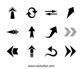 arrows up icon set, silhouette style