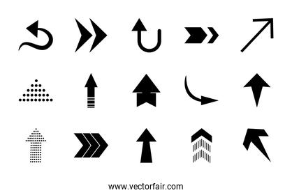 curved arrows and arrows icon set, silhouette style
