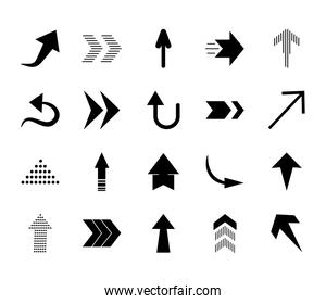 thin arrows and arrows icon set, silhouette style