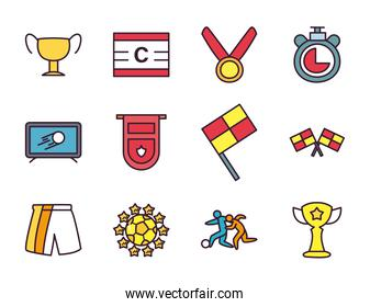Soccer line and fill style icon set vector design