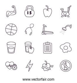 Healthy and sport line style icon set vector design