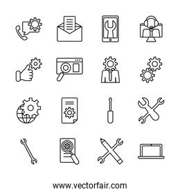 laptop computer and technical service icon set, line style