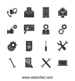 laptop computer and technical service icon set, silhouette style