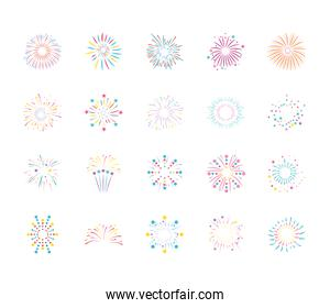 icon set of fireworks burst, flat style
