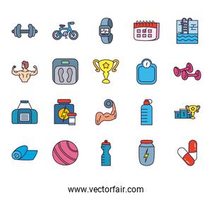 Healthy and sport line and fill style icon set vector design