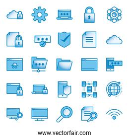 Data line and gradient style icon set vector design