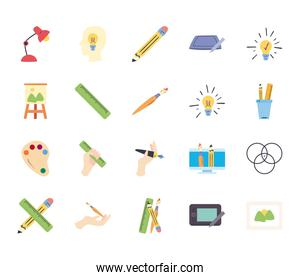 Art and design line and fill style icon set vector design