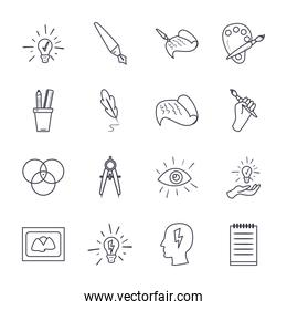 Art and design line style icon set vector design