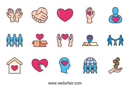 Charity and donation line and fill style icon set vector design