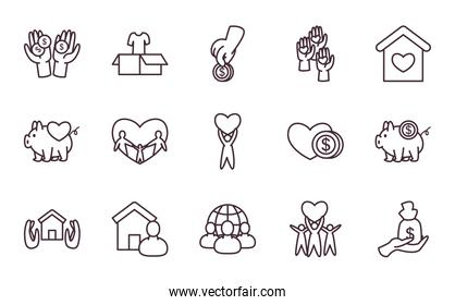 Charity and donation line style icon set vector design