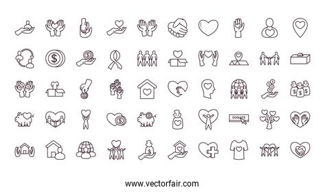 Charity and donation line style 50 icon set vector design