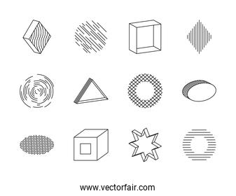 icon set of star and geometric shapes, line style