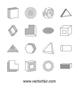 icon set of cylinder and geometric shapes, line style