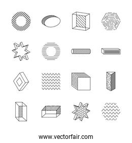 hexagon and geometric shapes icon set, line style