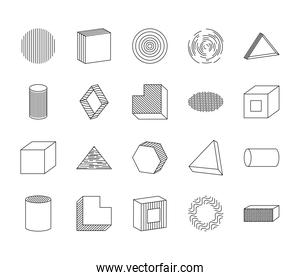 icon set of cube and geometric shapes, line style