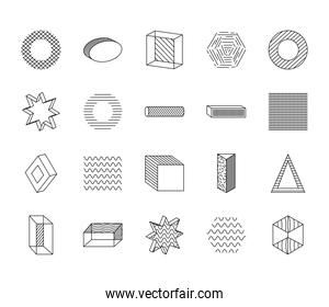 triangles and geometric shapes icon set, line style